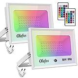 Olafus 2x 60W Projecteurs LED RGB Dimmable, Réglage Télécommande Mémorisée, 16 Couleurs et 4 Modes, IP66 Étanche, Spot LED Couleur Extérieur, Éclairage Multicolore Déco d'Ambiance pour Arbre, Cour