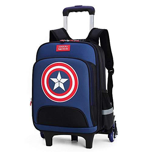 QWEIAS Mochila para niños Trolley Bag - Captain America 3D Mochila Escolar para niños y niñas - Mochila para niños Mochila con Ruedas con Asas telescópicas y Ruedas de 2/6 Blue- 6 Rounds