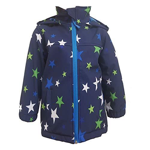 Outburst - Jungen Softshelljacke Regenjacke Winddicht und Wasserdicht 10.000mm Wassersäule, dunkelblau Sterne - Größe 80