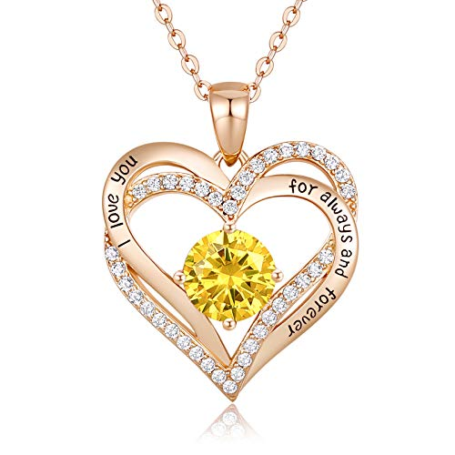 CDE Forever Love Heart Women Necklace 925 Sterling Silver Rose Gold Plated...