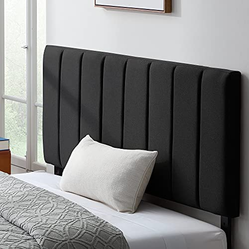 """Lucid Mid-Rise Vertical Channel-Upholstered Headboard-Adjustable Height from 36"""" to 48"""", Queen, Black"""