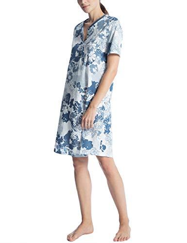 CALIDA Damen Soft Jersey Fun Nachthemd 95 cm Kurzarm, Mehrfarbig (Nimes Blue 487), Small
