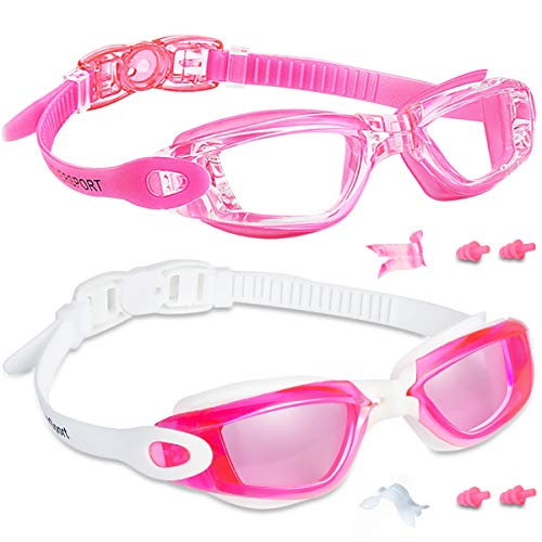 EverSport Kids Swim Goggles 2 Pack, Rosered & Pink, Swimming Goggles for Teenagers, Anti-Fog Anti-UV Youth Swimming Glasses, Leakproof, Free Ear Plugs, one Touch Open Straps, for 4-16 Y/O