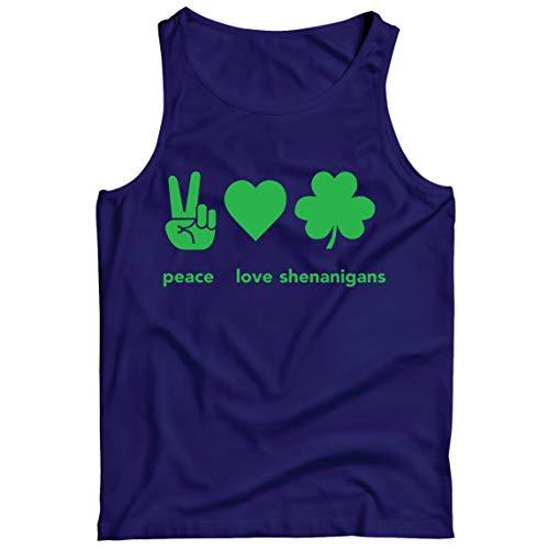 lepni.me Camisetas de Tirantes para Hombre Paz y Amor Shenanigans Regalo para la Fiesta del Día de San Patricio en Irlanda (XXL Azul Multicolor)