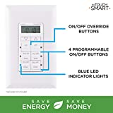 myTouchSmart In-Wall Digital Timer, 4 Programmable On/Off Buttons, 2 Easy On/Off Buttons,...