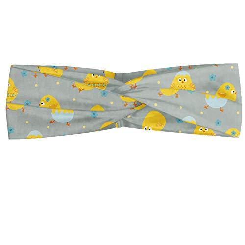 ABAKUHAUS Gele vogel Hoofdband, Cartoon Kip van de baby, Elastische en Zachte Bandana voor Dames, voor Sport en Dagelijks Gebruik, Pale Seafoam Mosterd
