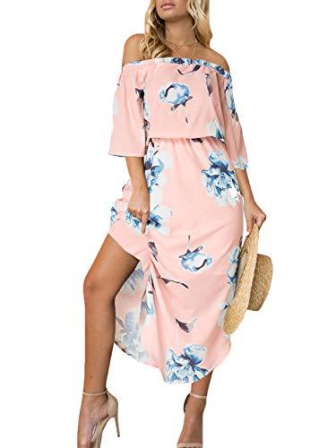 YOINS Sommerkleid Damen Lang V-Ausschnitt Off Shoulder Maxikleider für Damen Kleider Lose Kleid Strandmode,Schulterfrei-rosa,EU 32-34(X-Small)