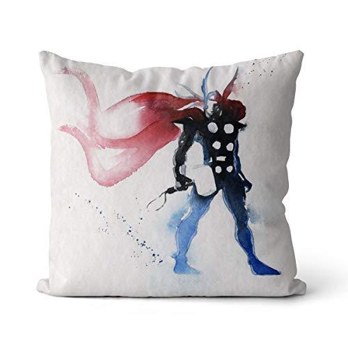 Superhero Watercolor Almohada Cuadrada con núcleo Cojín de sofá Decoración del Dormitorio del sofá con Funda de Almohada con Cremallera Invisible + núcleo 40x40cm