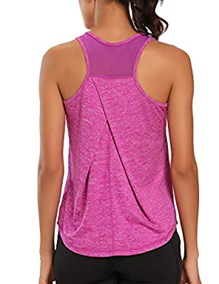 Aeuui Workout Tops for Women Mesh Racerback Tank Yoga Shirts Gym Clothes Dark Purple