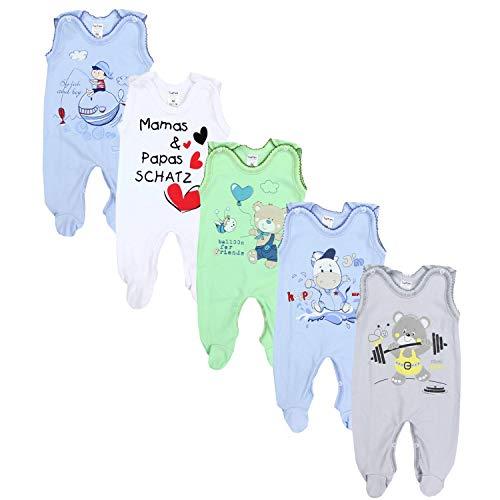 TupTam Unisex Baby Strampler mit Aufdruck Baumwolle 5er Set, Farbe: Junge 2, Größe: 86