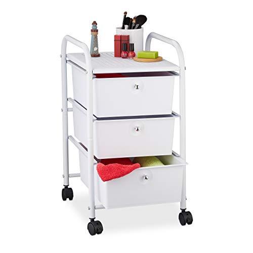 Relaxdays Badrollwagen, 3 Schubladen, Metall & Kunststoff, Rollcontainer Bad, Kosmetik, HxBxT: 60 x 33 x 39 cm, weiß