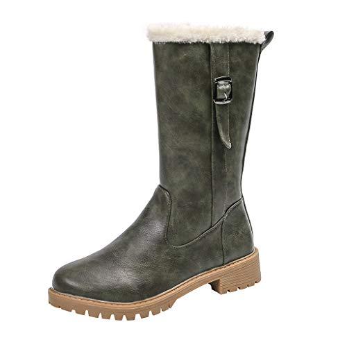 Stiefel Damen Trichterabsatz Halbschaft Plüsch Futter Reißverschluss Schuhe mit Gürtelschnalle Runder Zeh Einfarbiges Winter Warme Damenschuhe (39 EU, Grün)