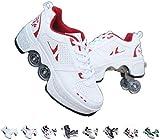 FGERTQW Unisex Enfants Mode Roller Skates Multifonction 2 en 1 Automatiques Rétractables Patins à roulettes Garçons Filles Chaussures D'Entraînement De Sport Plein Air Sneakers,Red-38