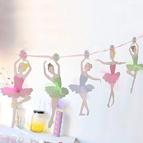 Sunbeauty Bandera de 10 Piezas Ballet niña Tarjetas DIY decoración para Bodas Cumpleaños Festivales Dormitorio de niños Suministros al Aire Libre