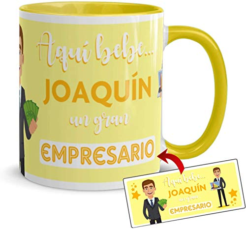 Kembilove Tazas de Café Personalizadas de Profesiones – Taza de Desayuno Aquí Bebe un Gran Empresario con Nombre Personalizado – Tazas de Desayuno para Profesionales – Tazas de 350 ml
