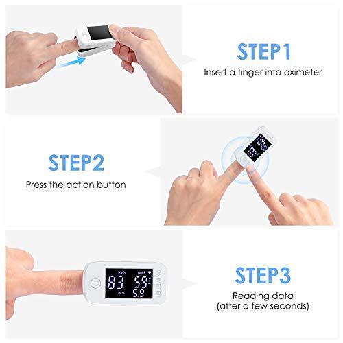 41ZpIL65IVL - Oxímetro de dedo profesional KKmier Saturometer Oxímetro de pulso con pantalla LED Medición portátil de SpO2 PR PI para adultos Niños de edad avanzada (baterías y cable)