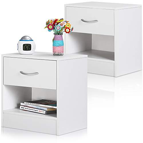 Deuba Nachttisch 2er Set Weiß Schublade mit Griff & Ablagefach 41x39x28 cm Holz Nachtkommode Nachtkonsole Nachtschrank