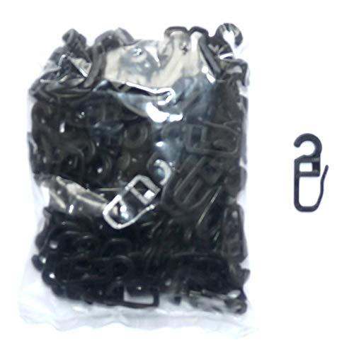 myraumdesign 100 Schwarze Gardinenhaken Faltenhaken für runde Gardinenringe mit 4-6 mm Wandung - sehr stabile Ausführung
