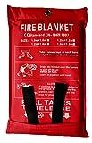 Toneeko Coperte antincendio in vetroresina per sopravvivenza di emergenza, protezione ignifuga e isolamento termico, progettata per cucina, camino, griglia, auto, campeggio (1.2x1.2m)