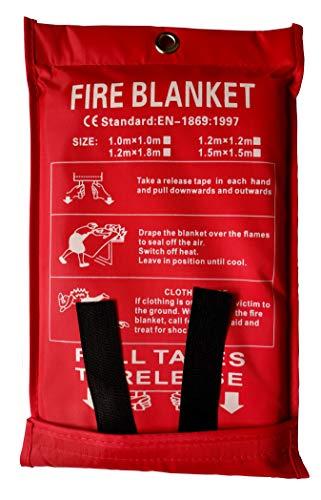 Toneeko Couverture Anti-feu en Fibre de Verre pour la Survie, Protection Ignifuge et Isolation Thermique, conçue pour la Cuisine, cheminée, Barbecue, Voiture, Camping(1x1m)