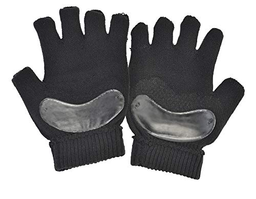 Silipos Gel Cushioned Yoga and Pilates Gloves, Silipos Gel Padded, No-Slip Grip, Cotton Blend, Black, 1 Pair