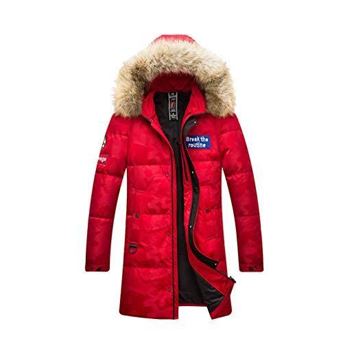 HUA JIE Mittellange Daunenjacke, Dicke, Warme Und Extrem Kalte Daunenjacke Für Männer Im Kanadischen Stil,XL