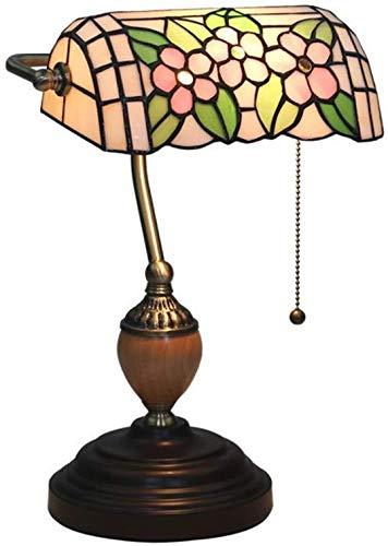 WZXCAP Banquero de mesa, Iglesia de vidrieras con flor de luz antigua, decoración de noche, sala de estar, dormitorio, iluminación, mesita de noche, lámpara de mesa lámpara de escritorio