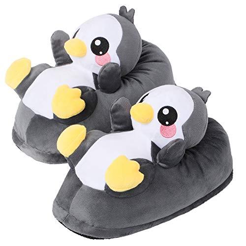 corimori Süße Plüsch Hausschuhe (10+ Designs) Pinguin Pablo Slipper Einheitsgröße 25-33,5 Unisex Pantoffeln Schwarz Weiß