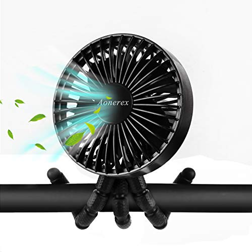USB Ventilator, Aonerex Tragbarer Tischventilator Mini Fan Lüfter PC Ventilator 3 Einstellbare Geschwindigkeiten Leise Handventilator mit 2600 mAh Akku für Kindenwagen Büro Zuhause und Reise (Schwarz)