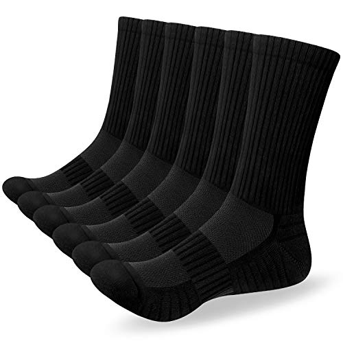 Alaplus 6 Paar Socken Herren Damen Crew Sportsocken Wandersocken Trekkingsocken Baumwolle Atmungsaktiv Sneaker Socken 43-46 39-42 35-38 47-50