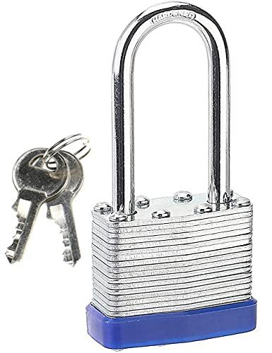 Candado de grillete largo con llaves, resistente al agua, resistente al agua, laminado para gimnasio, escuela, garaje, valla, cobertizo