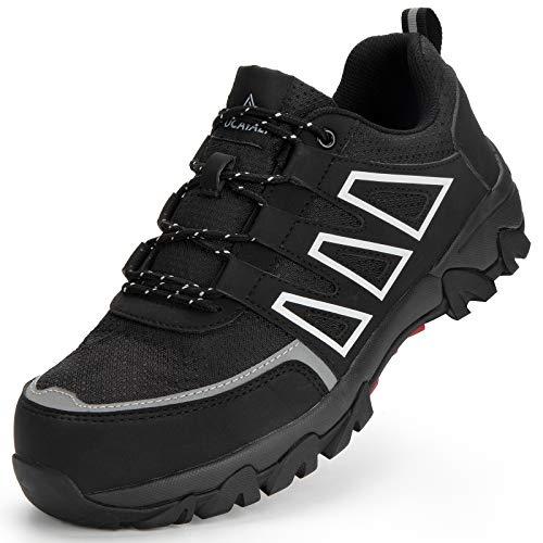 Ucayali Zapato de Seguridad Hombre Zapatilla de Trabajo con Punta de Acero Ligero Antideslizantes Transpirable Calzado Industrial Reflectivo(Tinta Negra, 44 EU)