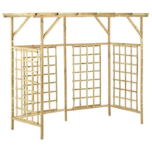 CDPC Pérgola de jardín para contenedores triples de madera para pérgola de jardín, arco de jardín de enrejado para macetas de basura impregnadas al aire libre