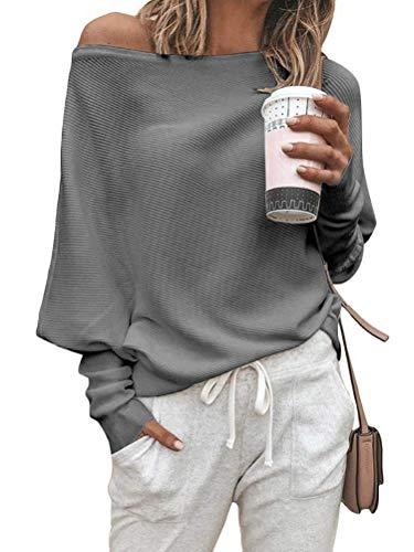 ORANDESIGNE Camiseta Basica Mujer Casual Sudadera Manga Larga Primavera Fuera del Hombro Blusa Fiesta Mujer Camisa Oficina Suelto B Gris 36