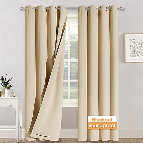 RYB HOME Noise - Blackout - Thermal Insulated Long Curtains for High Ceiling Window Curtains, 3 Layers Detachable Liner for Studio Sliding Door Bedroom, W 52 x L 95, Biscotti Beige, 1 Pair