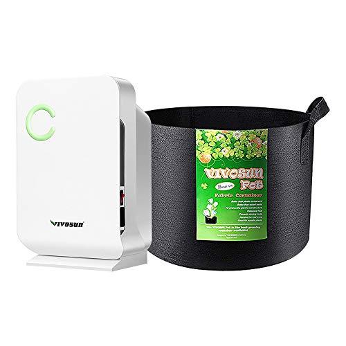 VIVOSUN Small Space Mini Dehumidifier for Grow tent Closets Bathroom and Basement, and 5-Pack 5 Gallon Grow Bags
