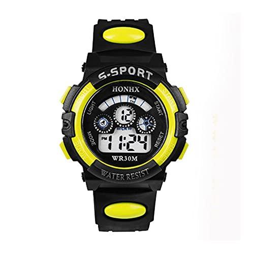 MUTYLRR Reloj de Hombre Impermeable para niños mira a niños niñas LED Relojes Deportivos Digitales Relojes de Silicona Reloj de Goma para niños Reloj Casual Regalo Reloj de Mujer (Color : Yellow)