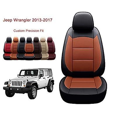 OASIS AUTO Jeep Wrangler JK 2013 2014 2015 2016 2017 Unlimited, Sahara, Sport, X, Custom Exact Fit PU Leather Seat Covers Accessories Full Set (4DR, Black/Orange)