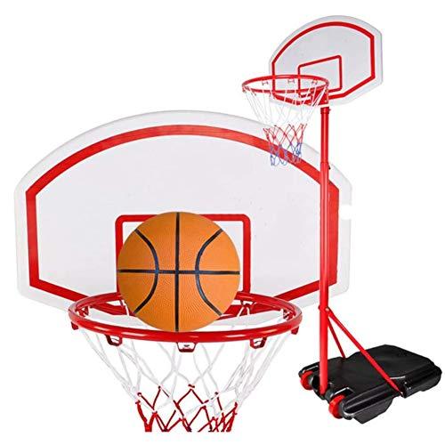 GAO-bo Aro de Baloncesto portátil, Ajustable Entre Polos 165-210Cm y Soporte del Sistema con Ruedas de Adultos y niños Gimnasio Deportes de Pelota Deporte