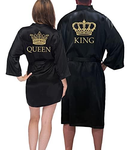 King & Queen Satin-Bademantel-Set – Geschenke für Paare – passende Satin-Bademäntel - - König O/S-Königin S/M