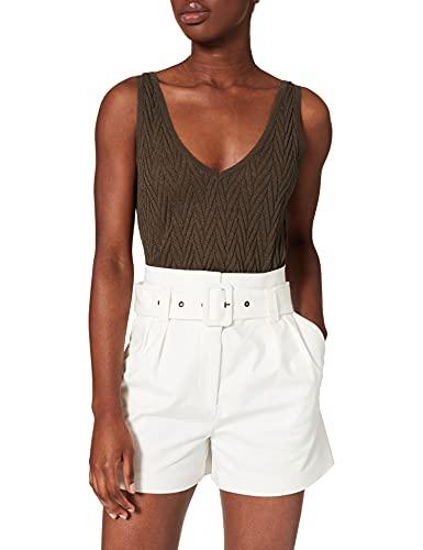 Morgan Short Taille Haute ceinturé 211-SHOMY Pantalones Cortos de Vestir, Off White, 42 para Mujer