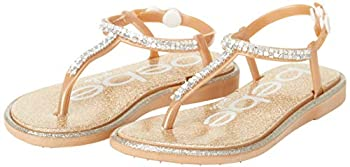 bebe Girls  Sandals - Rhinestone Studded Leatherette Sandals with Buckle Straps  Toddler/Little Kid  Size 7/8 Toddler Gold