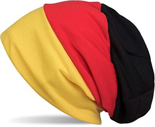 styleBREAKER Beanie Mütze im Deutschland Flaggen Design, Streifen Muster, Fanartikel, Unisex 04024072, Farbe:Schwarz-Rot-Gold