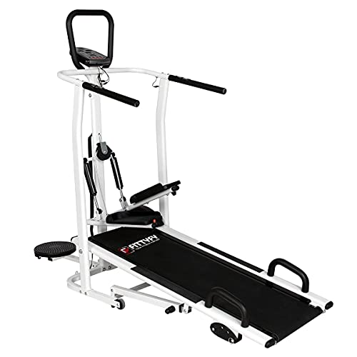 FITTYFY Manual Treadmill FFTM 410M- 5in1(Jogger,Stepper,Twister,Push-Up Bar,Heart Rate Sensor)|3Level Inclination|120Kg…