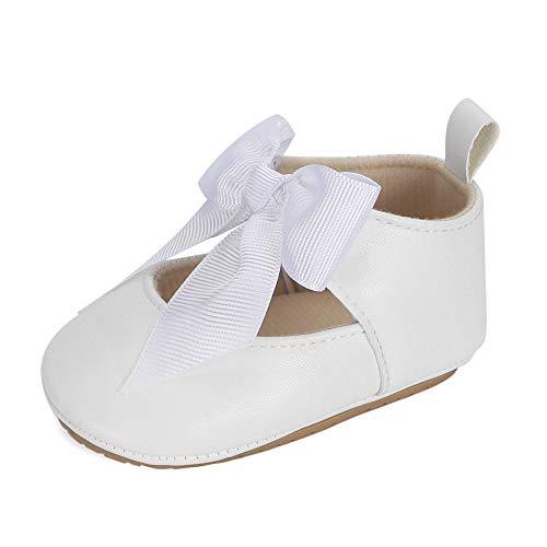 LACOFIA Ballerine neonata Scarpe Primi Passi Bambina Scarpine da Battesimo Principessa Bowknot Antiscivolo per Bimba Bianco 3-6 Mesi