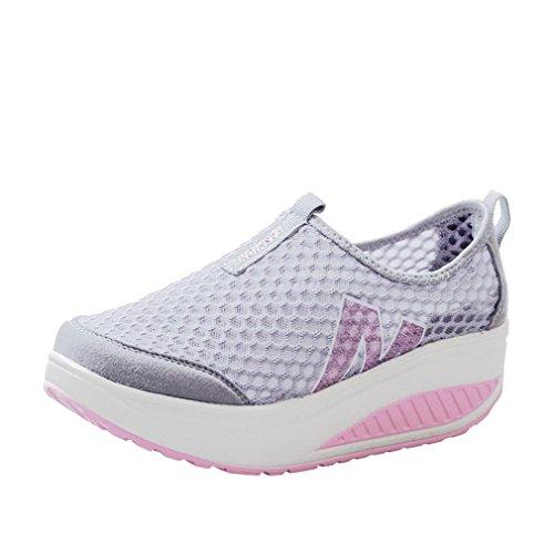 Ansenesna Schuhe Damen Blockabsatz, Ohne Schnüren Geschlossen Atmungsaktiv Stoff Outdoor Freizeitschuhe (38, Grau)