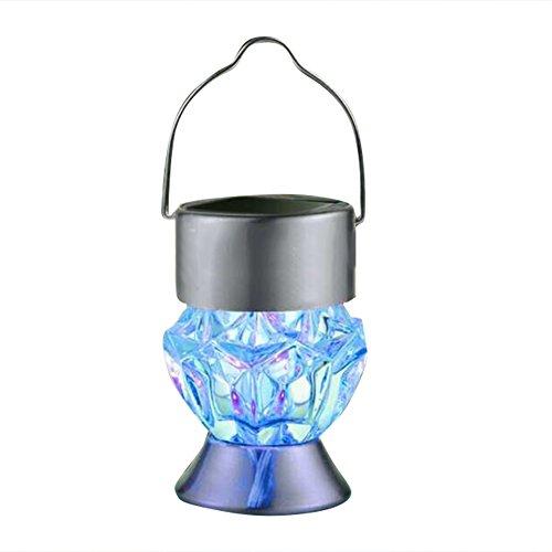 Lámpara colgante colorida lámpara solar con estrás de estrás LED, impermeable, colorida luz de paisaje con asa, ideal para jardín, camino, patio, pasarela y patio.