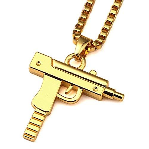 Inveroo Gold Uzi Gun Form Anhänger Halsketten Hip Hop Lange Kubanische Link Kette Halskette Für Frauen/männer Geschenke Schmuck