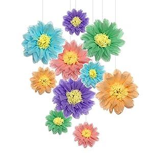 Flores de papel de seda pompones para decoración de fiestas, decoración de pared de guardería y decoración al aire libre…