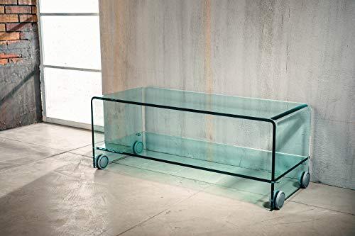 IMAGO FACTORY Flix TV-standaard voor woonkamer, brug van gebogen glas, met legplank en wielen, tv-bijzettafel van robuust glas